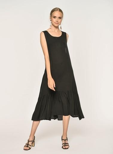 Loves You Eteği Piliseli Kolsuz Krinkıl Elbise Siyah